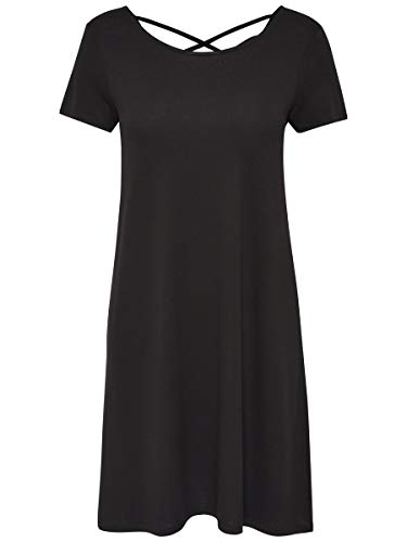 Only Onlbera Back Lace Up S/s Dress Jrs Noos Vestido, Negro (Black Black), 42 (Talla del Fabricante: Large) para Mujer