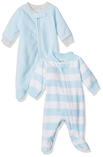 Amazon Essentials 2-Pack Microfleece Sleep and Play Infant Toddler-Sleepers, Blue White Rugby Stripe, Bebé prematuro