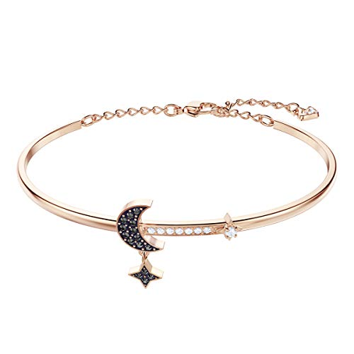 Swarovski Women's Symbolic Moon Bangle Bracelet, Brilliant Crystals with Rose-gold tone plated finish, from the Swarovski Symbolic Collection