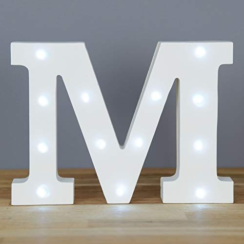 Up in Lights Muestra decorativa de madera blanca de las letras del LED - colgante de pared con pilas - Letra M
