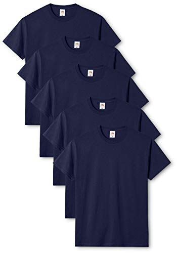 Fruit of the Loom Mens Original 5 Pack T-Shirt Camiseta, Azul (Navy), Large (Pack de 5) para Hombre