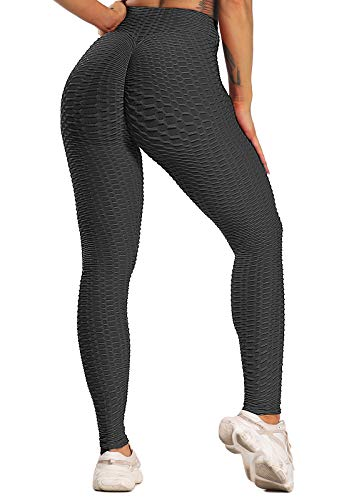 FITTOO Leggings Push Up Mujer Mallas Pantalones Deportivos Alta Cintura Elásticos Yoga Fitness Negro XS
