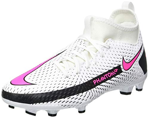 Nike Jr. Phantom GT Academy DF FG/MG, Football Shoe, White/Pink Blast-Black, 37.5 EU