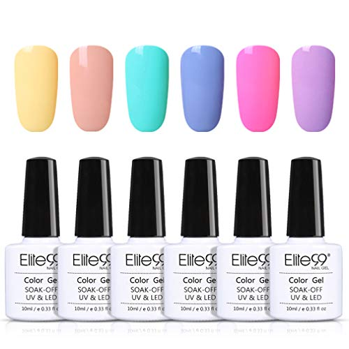 Elite99 Esmaltes Semipermanentes de Uñas en Gel UV LED, 6pcs Kit de Esmaltes de Uñas 10ml 011