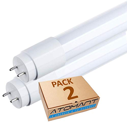 Pack 2x Tubo LED 60 cm, 9w. Color Blanco Frio (6500K). Cebador LED incluido. T8 Standard. 870 Lumenes. A++
