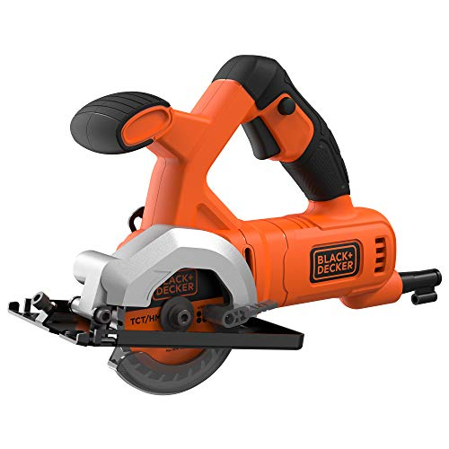BLACK+DECKER BES510-QS - Mini sierra circular con cable 400W, Ø 85mm, 3600 rpm, incluye 2 discos