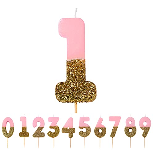 Talking Tables Pink Number 1 One Birthday Candle with Glitter, Premium Cake Topper Decoration, Pretty, Sparkly For Kids, Adults, 1st Birthday Party, BDAY-CANDLE-1