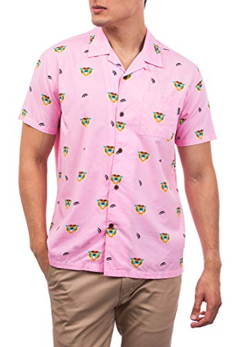 Hurley M Flourish Woven S/S Camisa, Hombre, Washed Pink, L