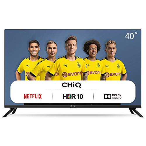 CHiQ Televisor Smart TV LED 40', Resolución FHD, HDR 10/HLG, WiFi, Bluetooth (Solo Auriculares y Altavoces), Netflix, Prime Video, Youtube, HDMI, USB - L40H7N