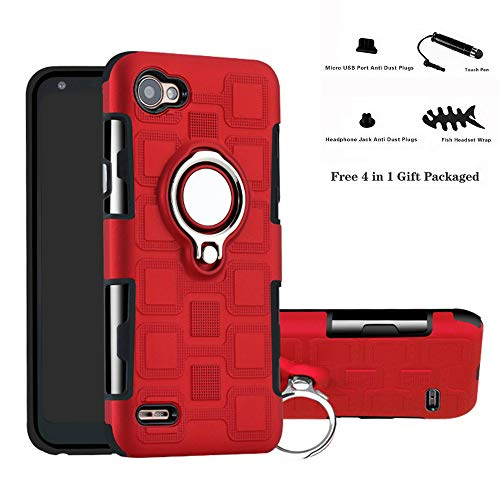 Labanema LG Q6 Funda, 360 Rotating Ring Grip Stand Holder Capa TPU + PC Shockproof Anti-rasguños teléfono Caso protección Cáscara Cover para LG Q6 / Q6 Plus / Q6 Mini - Rojo