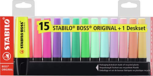 Marcador STABILO BOSS Original - Set de mesa con 9 colores fluorescentes y 6 colores pastel