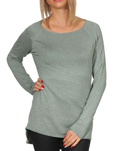 Only Onlmila Lacy L/s Long Pullover Knt Noos suéter, Verde (Chinois Green Detail: W. Melange), 42 (Talla del Fabricante: Large) para Mujer