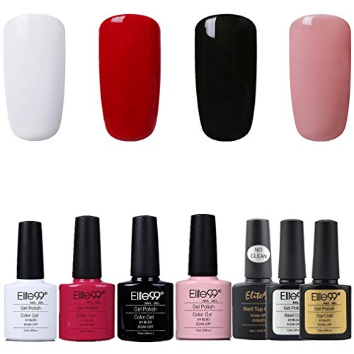 Elite99 Esmalte de Uñas Semipermanente Uñas de Gel UV LED Kit de Manicura 7pcs con Base Coat Top Coat de Brillo y Top Coat de Mate Pintauñas Soak off - Kit 001
