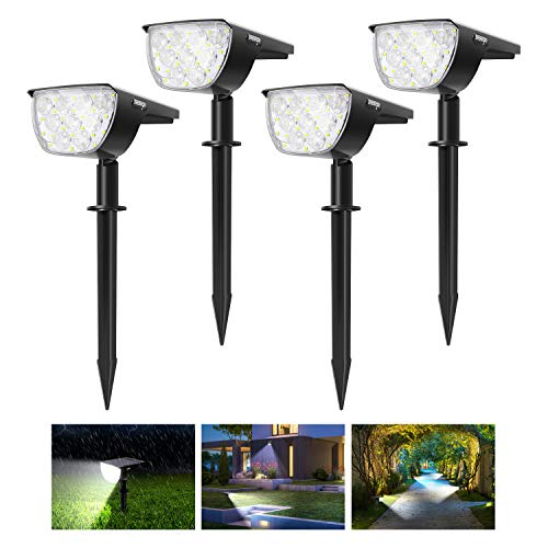 4Pack 30 LED Innosinpo Luces Solares Jardín Suelo,Brillo Alto Impermeable IP67 Luz Solar Exterior Jardín con 180° Iluminación Ajustable Lamparas Solares Jardin Exterior para Césped,Carril,Patio