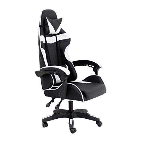 RAC TLV-GC030-WHITE Silla Gaming PC Videojuegos Racing Oficina Escritorio Despacho Sillon Gamer, Negro - Blanco