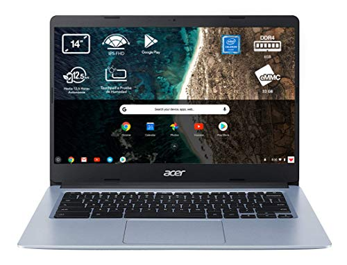 Acer Chromebook 314 - Portátil 14' FullHD (Intel Celeron N4020, 4GB RAM, 64GB eMMc, Intel UHD Graphics, Chrome OS), Teclado QWERTY Español, Color Plata