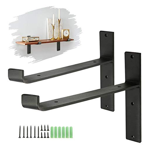 KING DO WAY Soportes de Metal, Soporte de la Pared Industrial para Estante Flotante Baldas Flotantes Negro 2 pz (T LIP)