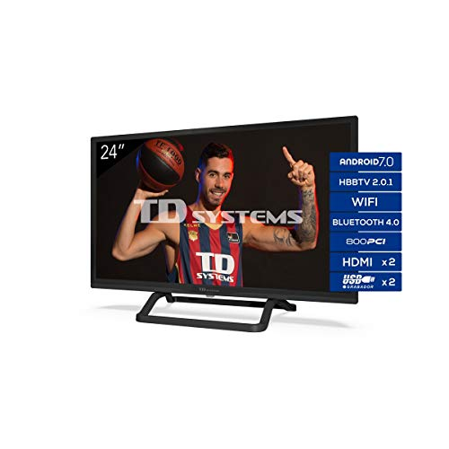 TD Systems K24Dlx11Hs - Televisor 24', Android 7.0 y Hbbtv, 800 Pci Hz, 2X Hdmi, 2X Usb. Dvb-T2/C/S2, Modo Hotel, Negro