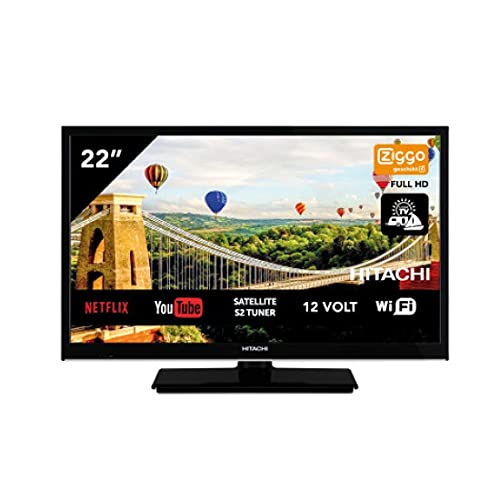 Hitachi 22HE4002 Android TV Smart WiFi 22 pulgadas 56 cm Full HD LED TV DVB-S2/C/T2 – [12 V y 220 V – ideal también para camping
