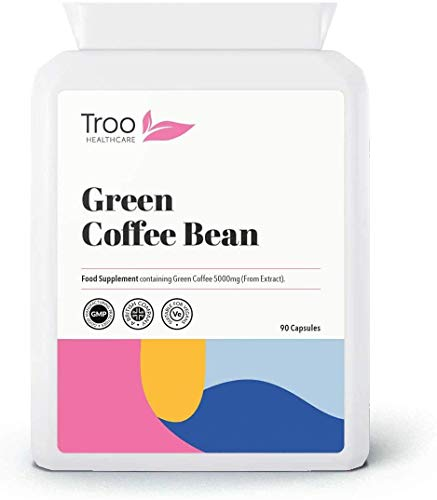Green Coffee Extract 5000mg 90 Vegetarian Capsules - Weight Loss, Diet & Slimming Support Supplement Using Raw, Unroasted Green Coffee Beans. UK GMP Manufactured
