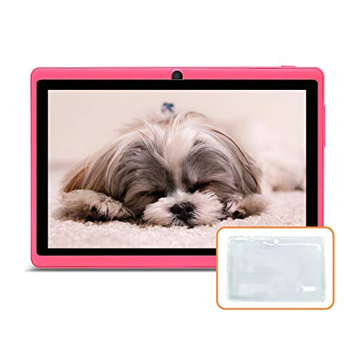 JINYJIA 7' Tablet PC - Google Android 9.0 GMS HD Tablet Equipada con Funda de Silicona Translúcida, 1GB RAM 16GB ROM Quad Core, WiFi, Bluetooth, Rosado