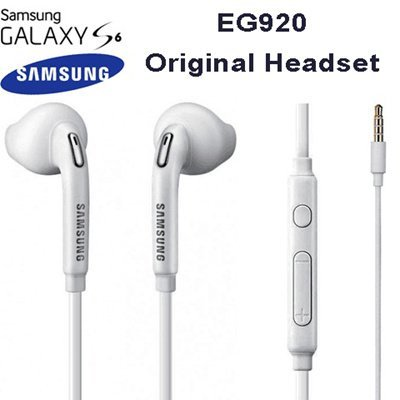 TPC Auriculares Manos Libres Original Samsung EO-EG920LW para Galaxy S6, S7, Edge, Plus, Note 4,5, Headset Earbuds, Blanco, Retail