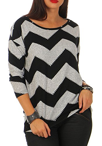 Only onlELCOS 4/5 AOP Top JRS Noos Camisa Manga Larga, Multicolor (Light Grey Melange AOP:w. Black Zigzag), 36 (Talla del Fabricante: Small) para Mujer
