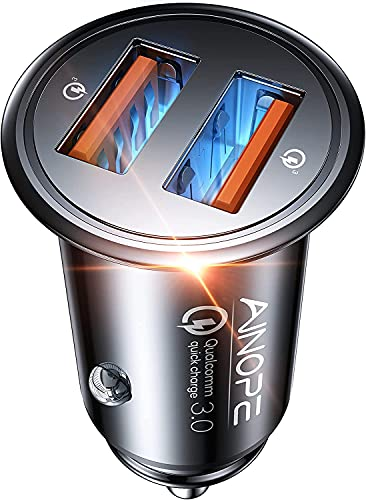 AINOPE Cargador Coche Usb, [Puerto Dual QC3.0] 36W / 6A [Todo Metal] Cargador Movil Coche Mini Cargador Coche Rapido Compatible con iphone 12/12 pro/11/11 pro/XR/X/XS, Note 9/Galaxy S10/S9/S8,iPad Air