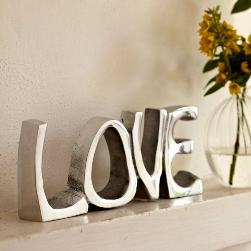 Objeto decorativo con la palabra Love (acero inoxidable, 200 x 85 mm)