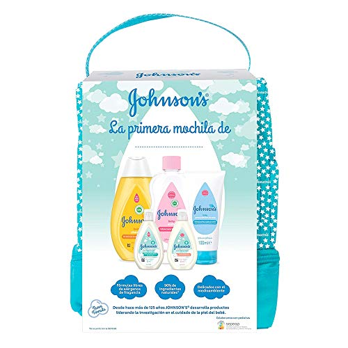 Johnson's Baby Set de Regalo Mi Primera Mochila, champú Clásico 300ml + Aceite Corporal 300ml + crema protector de pañal de 100ml + loción y gel de baño Cotton Touch 50ml