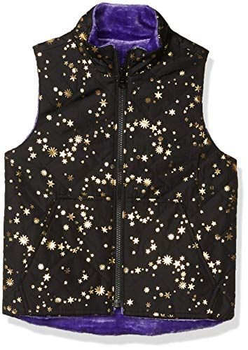 Spotted Zebra Reversible Plush Vest Infant-and-Toddler-Down-Alternative-Outerwear-Coats, Black Gold Star/Purple, 4T