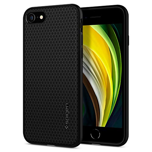 Spigen Funda Liquid Air Compatible con iPhone SE 2020, Compatible con iPhone 8 y Compatible con iPhone 7 - Negro