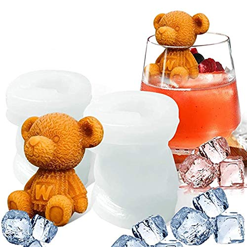 2 Pcs 3D Silicone Ice Cube Mould, Bear Ice Cube Trays Silicone Mould BPA Free, Flexible Safe Reusable Novelty Bear Shape Portable Sphere Silicone Ice Cube Maker Tools Bags for Drink 42 ml (Bear Shape)