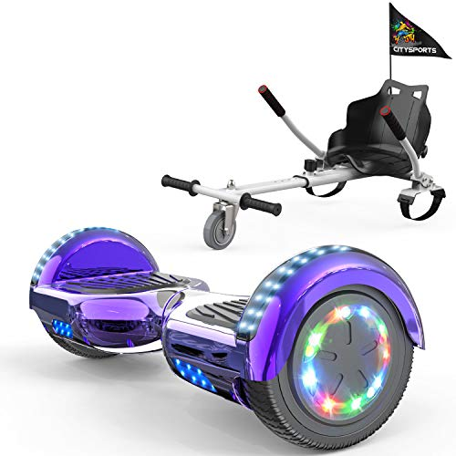 COLORWAY Hoverboard Hover Scooter Board 6,5' con Asiento Kart con Ruedas de Flash LED, Patinete Eléctrico Altavoz Bluetooth y LED, Autoequilibrio de Scooter Eléctrico (Violeta-Blanco)