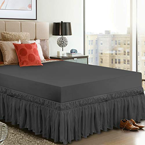 Utopia Bedding Elastic Bed Valance Skirt with Ruffles - Soft Brushed Microfibre Ruffle Drop: 40 cm - (King 150 x 200 cm, Grey)