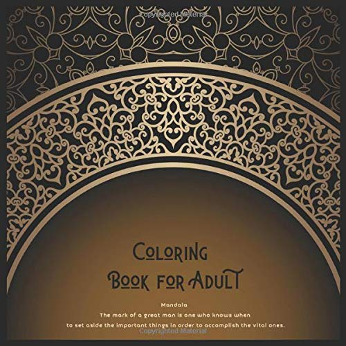 Coloring Book for Adult Mandala - The mark of a great man is one who knows when to set aside the important things in order to accomplish the vital ones.