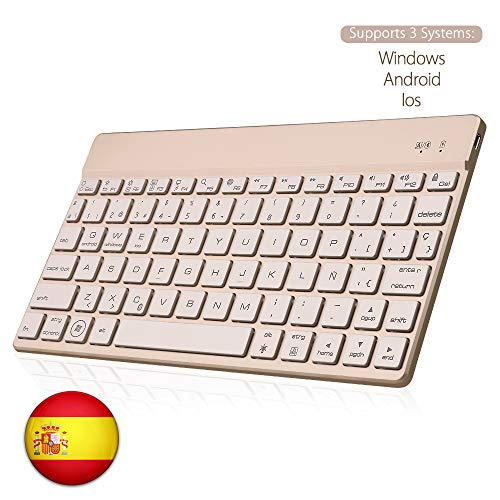 SENGBIRCH Bluetooth Teclado Español, Teclado Inalámbrico Delgado para iOS-Android-Windows Retroiluminada 7 Colores Teclado Compatible con iPad, Tablet PC,Mac (Oro)