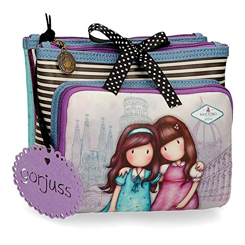Neceser Gorjuss Tres Compartimentos Friends Walk Together, Morado, 27x17x10 cm